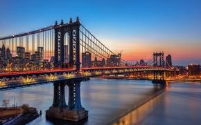 Картинка небо, закат, огни, отражение, Нью-Йорк, зеркало, Манхэттенский мост, Соединенные Штаты