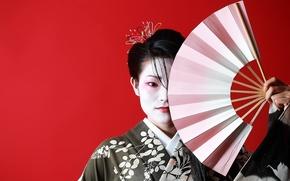 Картинка девушка, Взгляд, Япония, веер