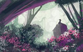 Картинка лес, цветы, фигура, арт
