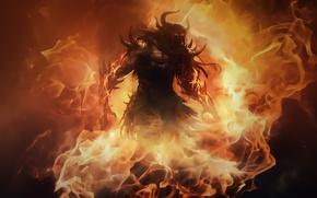 Картинка пламя, монстр, guild wars 2, fire lord