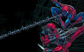 Картинка Паутина, Оружие, Web, Дэдпул, Катана, Spider-man, Человек-паук, Питер Паркер, DeadPool, Саи, Уэйд Уилсон
