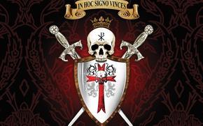 Картинка skull, sword, logo, seal, mark, cross, lion, crown, ken, blade, shield, warrior, templar, Constantine, latin, …