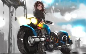 Картинка дождь, аниме, мотоцикл