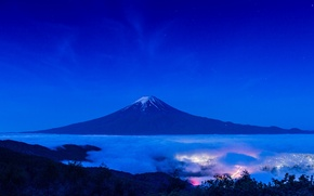 Обои гора, вулкан, огни, пейзаж, ночь, Fuji, Япония