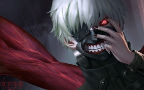 Картинка аниме, маска, арт, парень, tokyo ghoul, kaneki ken, cangkong