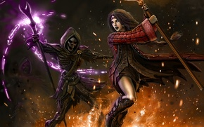 Обои скелет, смерть, девушка, магия, фантазия, маг, огонь