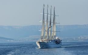 Картинка море, яхта, Хорватия, круиз, Croatia, Адриатическое море, Adriatic Sea, Wind Star, 4-мачтовая парусная яхта