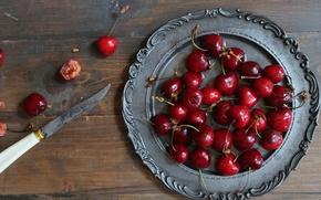 Обои ягоды, нож, черешня, блюдо