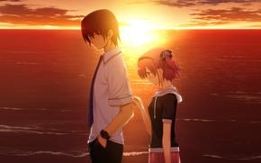 Картинка любовь, закат, настроение, игра, вечер, аниме, двое, komine sachi, grisaia no kajitsu