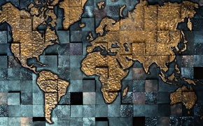Картинка материки, карта, объем, квадрат