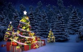 Картинка зима, снег, елки, новый год, подарки, гирлянда, мишура, Christmas, night, winter, New Year, gifts