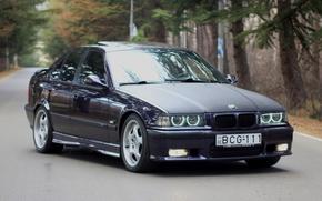 Картинка дорога, фары, тюнинг, номер, BMW, карбон, диски, спереди, tuning, бок, карбоновый капот, E36, Merab Karchava, …