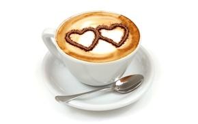 Картинка кофе, завтрак, сердечки, love, heart, cup, coffee