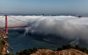 Картинка город, туман, Калифорния, Сан-Франциско, США, San Francisco, Golden Gate вridge, висячий мост, мост Золотые Ворота
