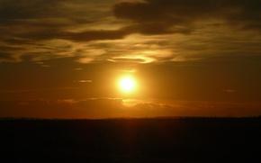 Картинка солнце, закат, степь