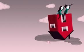 Картинка дом, фон, картина