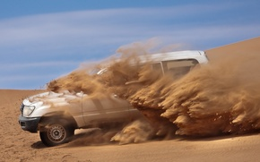 Обои песок, машина, пустыня