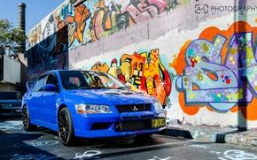 Картинка синий, mitsubishi, Graffiti, lancer, evolution, evo, лансер, эво, митсубиши, JDM