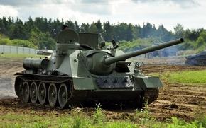 Картинка истребитель, войны, установка, советская, СУ-100, (САУ), самоходно-артиллерийская, периода, танков, мировой, Второй