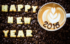 Обои Happy, beans, coffee, New Year, 2016, cookies, Новый год, decoration