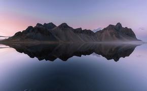 Картинка reflections, iceland, Vestrahorn