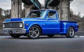 Картинка chevrolet, blue, pickup, c10