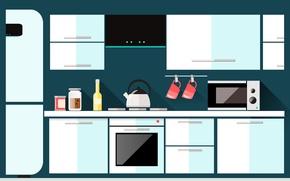Картинка мебель, вектор, чайник, кухня, микроволновка