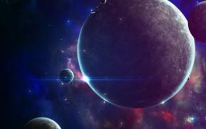 Картинка космос, пространство, планеты, спутники, planets, satellites
