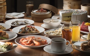 Картинка чай, рыба, сок, торт, креветки, блюда, ассорти