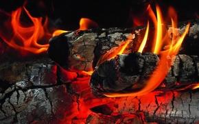 Картинка пепел, огонь, дрова, угли, камин, костёр, пламень