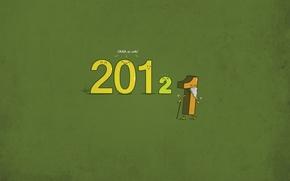 Обои минимализм, цифры, новый год, 2012