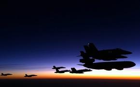 Картинка Закат, самолёты, сапровождение