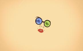Обои взгляд, девушка, лицо, минимализм, пирсинг, очки, губы, ваниль