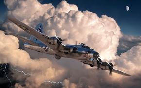 Картинка рисунок, арт, самолёт, американский, B-17G, WW2, бомбордировщик, 'The G.I. Virgin II'