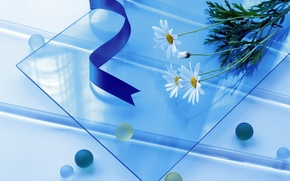 Обои цветы, стекло, ленты, голубой, простой, шары, круглый, квадратный, длинный, синий
