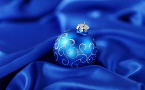 Картинка зима, праздник, блеск, шар, рождество, ткань