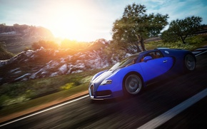 Обои bugatti, veyron, в движении, gran turismo 6