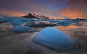 Картинка ночь, озеро, лёд