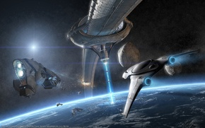 Обои орбита, корабли, планета, фон