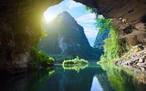 Картинка природа, река, скалы, утесы, Vietnam