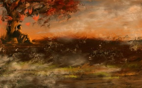 Картинка грусть, осень, Рисунок