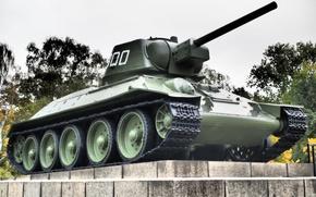 Картинка войны, памятник, танк, средний, периода, Отечественной, Великой, T-34