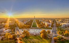 Картинка солнце, пейзаж, закат, панорама, Вашингтон, США, округ Колумбия, Национальная аллея