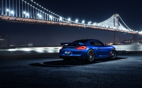 Обои Car, Night, Blue, Bridge, Sport, Rear, Porsche, Cayman, GT4