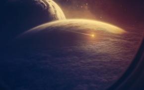 Обои космос, облака, корабль, планета, астероид, иллюминатор