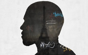 Картинка надписи, работа, Париж, силуэт, профиль, Эйфелева башня, Paris, гранж, grunge, Alex Cherry, Eiffel Tower, artwork
