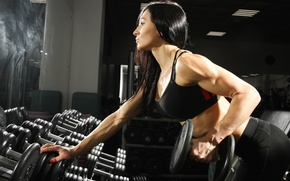 Обои fitness, brunette, workout, dumbbell, gym