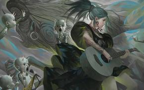 Обои девушка, гитара, арт, микрофон, rock, демоны