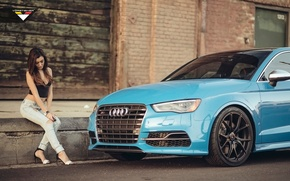 Обои Vorsteiner, Audi and Girl, Car and Girl, Audi S3, Vorsteiner Audi S3, Audi Cars, Girl, ...