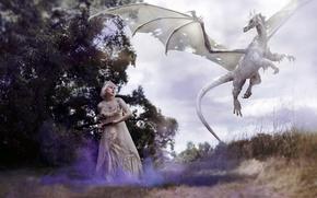 Обои дракон, девушка, фон